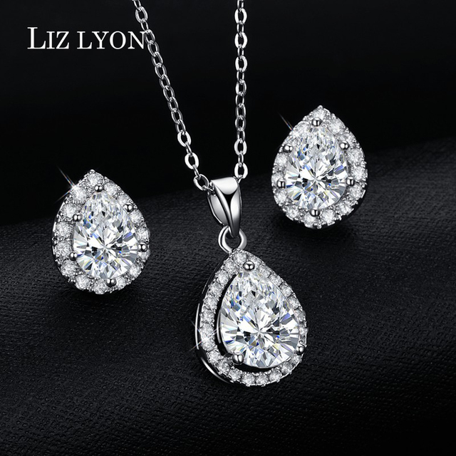 Trendy Engagement Jewelry Set Pear Shaped CZ Diamond Jewelry