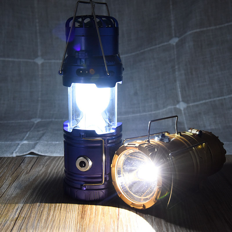 Solar Rechargeable Fan LED Camping Light Flashlight Hanging Tent Lantern New