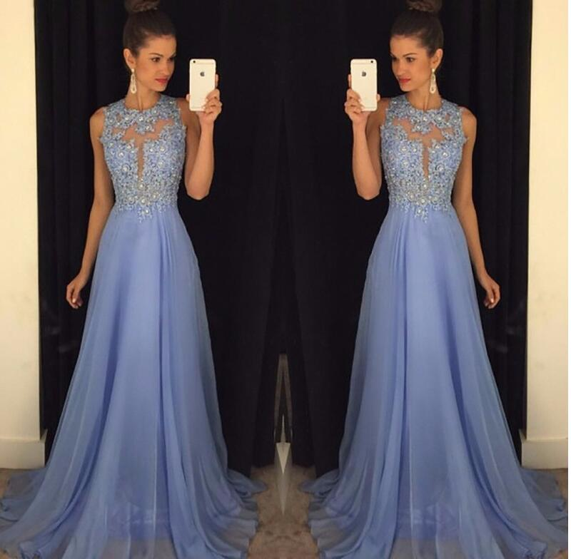 2019 A line Blue   Prom     Dresses   Lace and Chiffon Appliqued Maid of Honor Gowns   Prom   Party Gowns Free Shipping