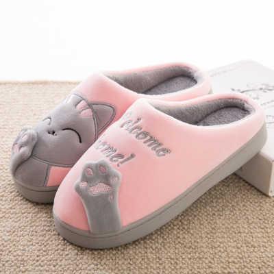 fd7195a52 ... Теплый кот Женская зимняя обувь Домашние тапочки комфорт домашняя обувь  для Для женщин плюс домашняя обувь