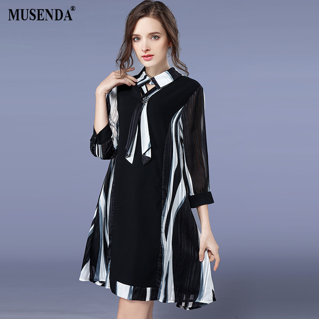 MUSENDA Plus Size Women Black Striped Chiffon Ties 3 4 Sleeve Dress 2018  Spring Female Dresses Vestido Clothing Robe 3XL 4XL 5XL b23aa5ae5f85