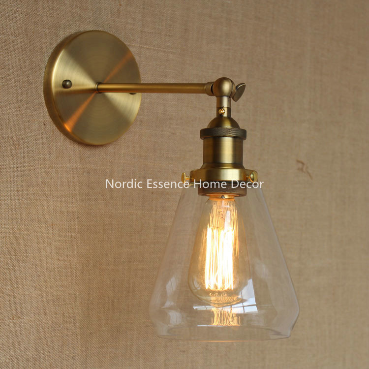 Nordic LOFT American rural retro long arm copper wall lamp American country creative home decor decorations free shipping