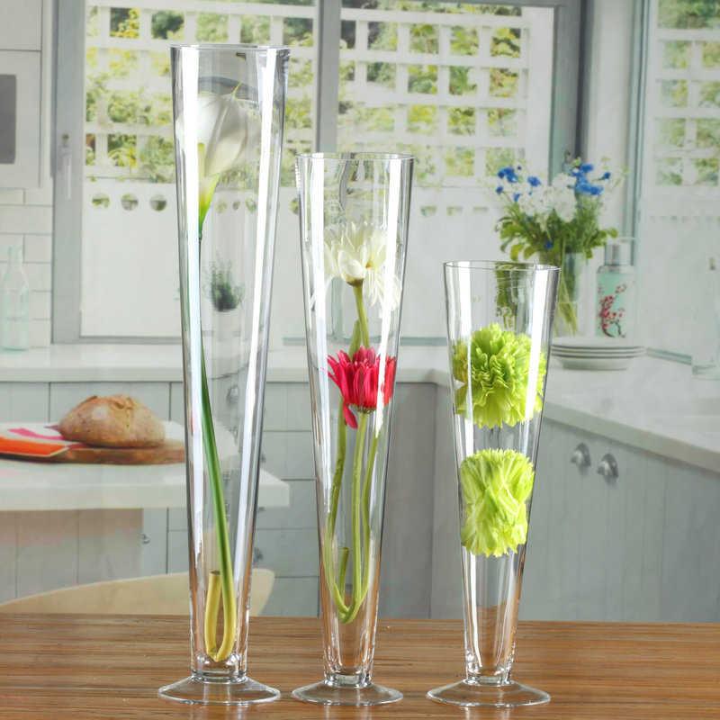 Glazen Vaas Nordic Bruiloft Weg Leider Transparante Hoge Vaas Glas Containers Creatieve Vaas Decoratie Voor Bruiloft Vases Aliexpress