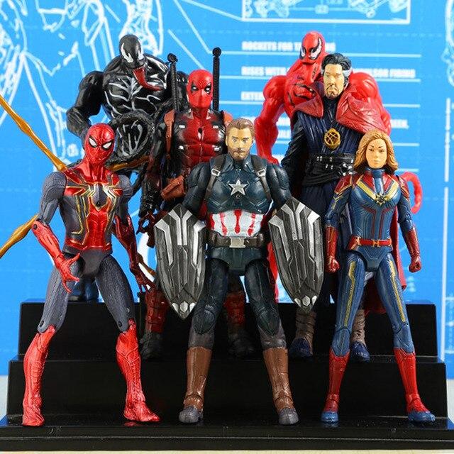 Os Vingadores Homem De Ferro Capitão América Venom SpiderMan Thanos Deadpool Falcon Pantera Negra PVC Action Figure Brinquedos Para As Crianças