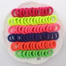 100 шт./лот, диаметр 20 мм, вязаные эластичные резинки для волос ярких цветов из спандекса, аксессуары для волос для девочек