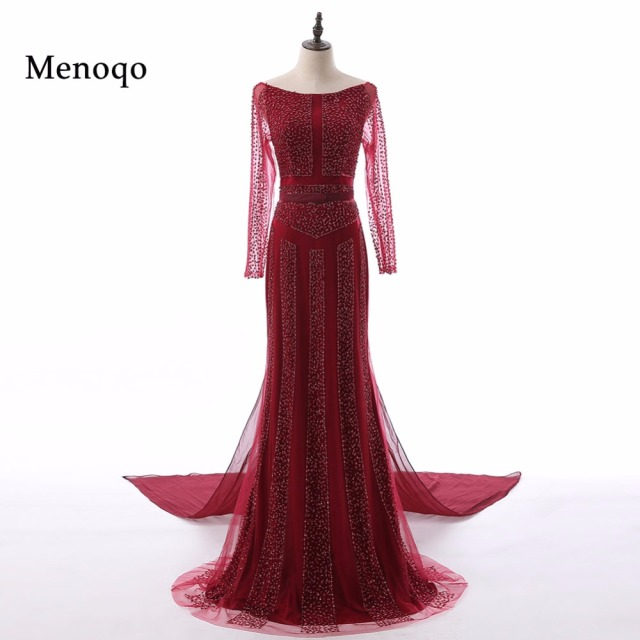 Menoqo Luxury Beading Mermaid Tulle Evening Dress Long Sleeves ...