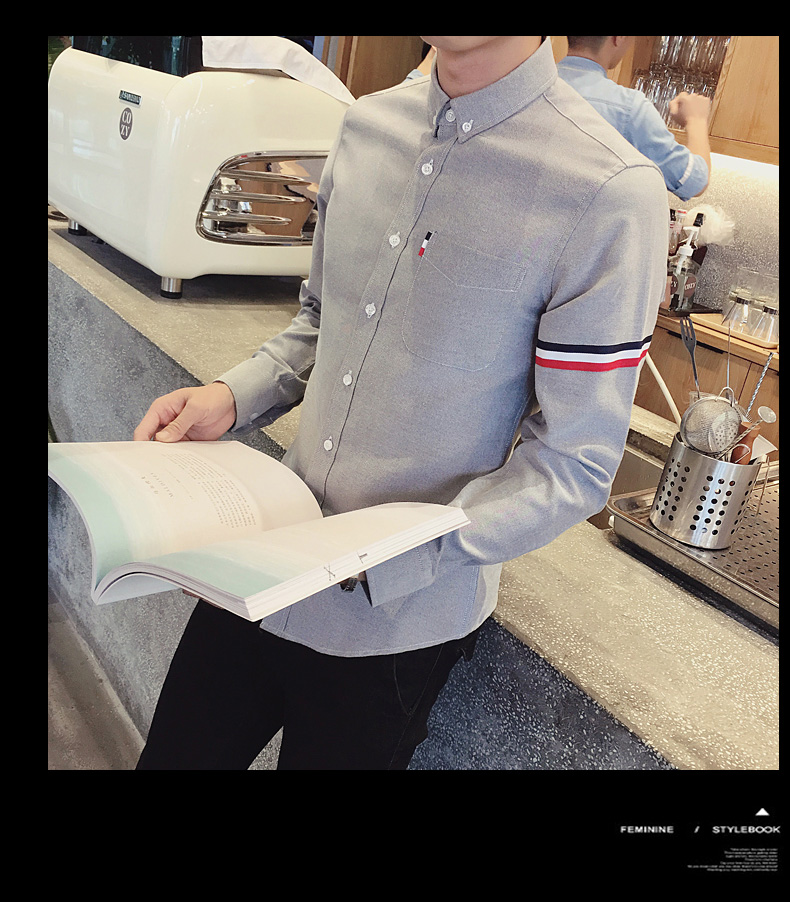 2017 New autumn men's casual tops brand shirt striped Strip decorate cotton men fashion solid color long sleeved Shirts M-XXXL 85