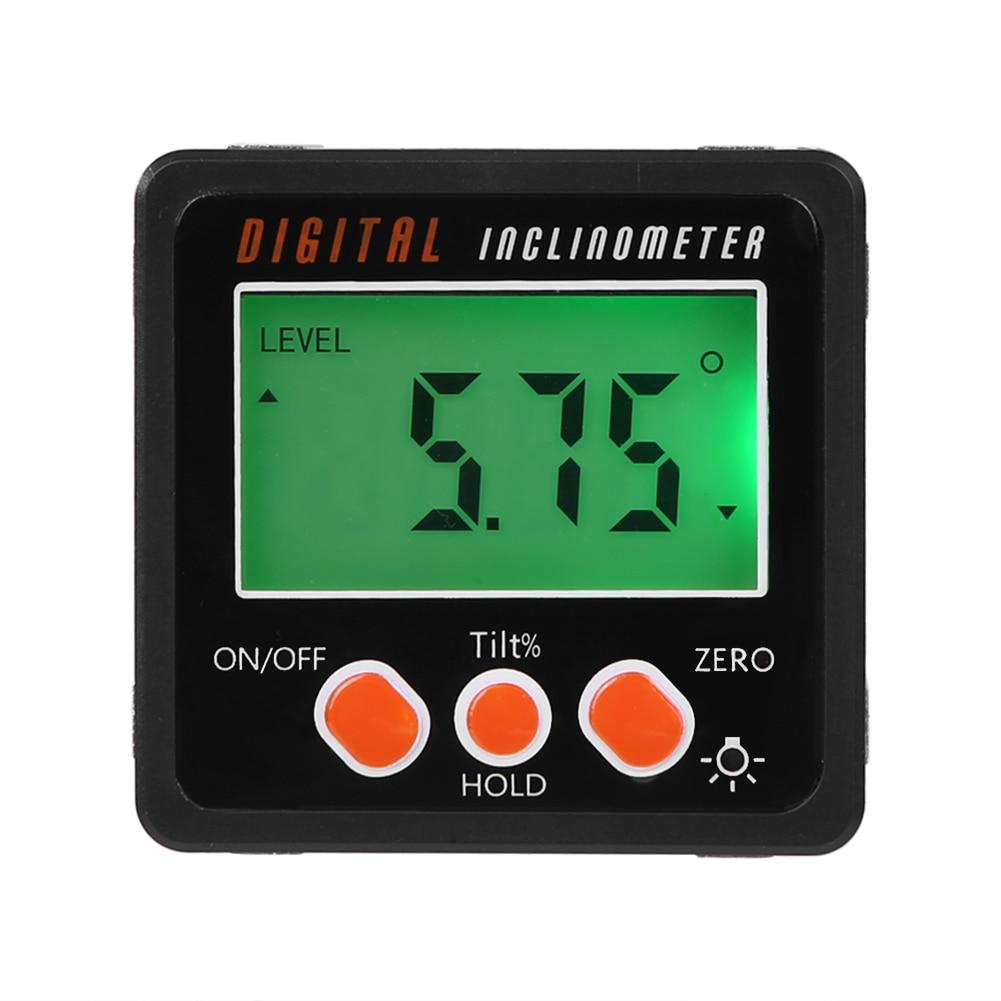 Novo mini digital transferidor inclinômetro eletrônico nível caixa medidor de ângulo liga alumínio base magnética ferramentas medição