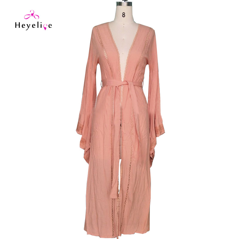 Sexy Long Dresses Women Solid Long Beach Dress Long Sleeves Lace Dresses Elegant Vestidos Robe Femme in Dresses from Women 39 s Clothing