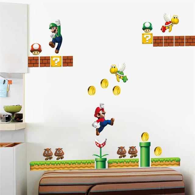 Super Mario Wandaufkleber Kunst Für Kinder Bedoom Dekorative Aufkleber  Cartoon Spiel Schälen Und Stick Home Aufkleber
