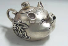 Old Decorated Handwork tibet silver collectable old style lifelike pig teapot(China)