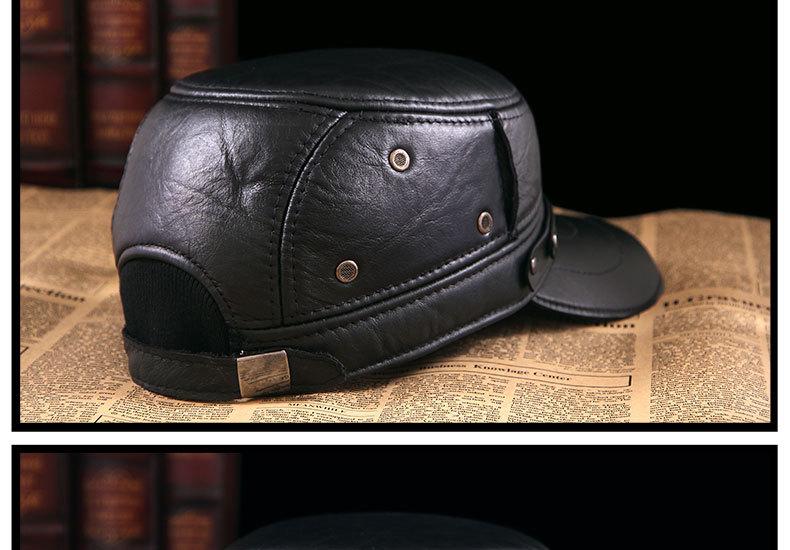 Men\'s Leather Hat - warm winter baseball cap - Korean fashion outdoor peaked cap _17