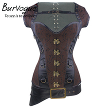 Burvgue Sexy Gothic Corsets and Bustier for Women Waist Trainer Steampunk Corset Overbust Plus Size 3 Pcs Zipper Leather Corset