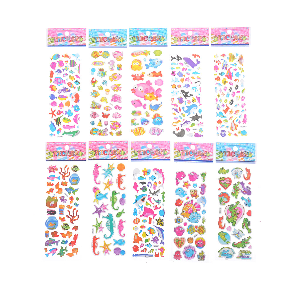 5 Sheets/set Marine Life Fish Animals Scrapbooking Bubble Puffy Stickers Sea Fishes Stickers Kawaii Emoji Reward Kids Toys