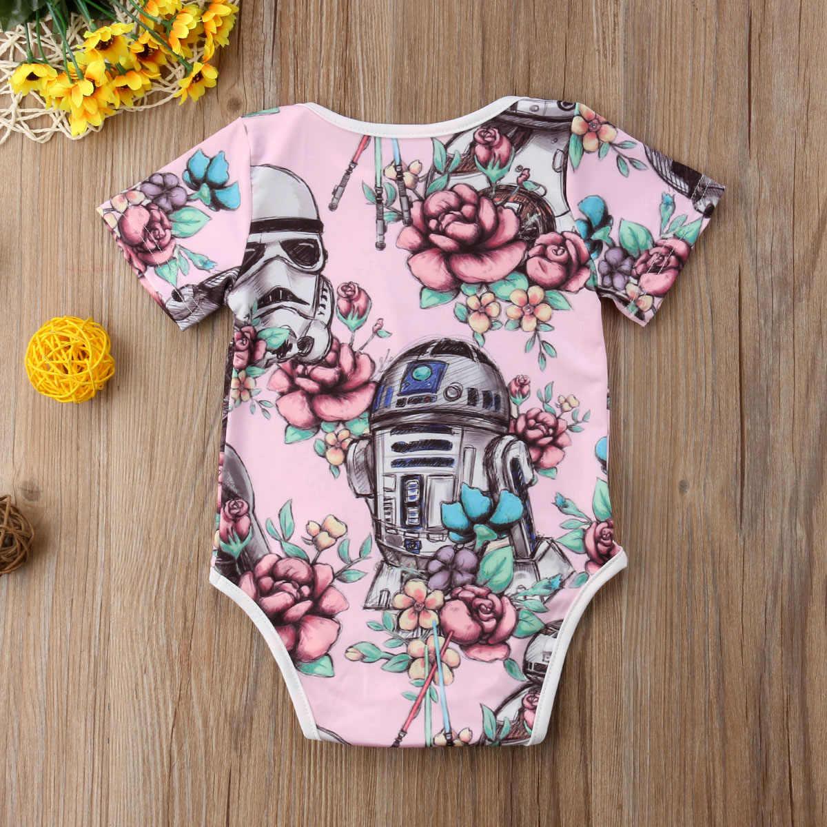 Nouveau nouveau-né enfant en bas âge bébé fille à manches courtes barboteuse combinaison Sunsuit tenue florale combishort vêtements décontractés