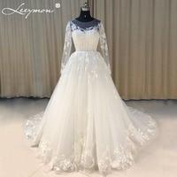 Vestido De Noiva New Design A Line Lace Wedding Dress O Neck Beaded Opeb Back Sexy Vintage Gowns Long Wedding Dress