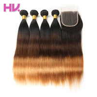 Hair Villa Remy Brazilian Ombre Straight Hair With 4*4 Lace Closure #1b/4/30 Four Bundles Human Hair Weave One Pack For Salon