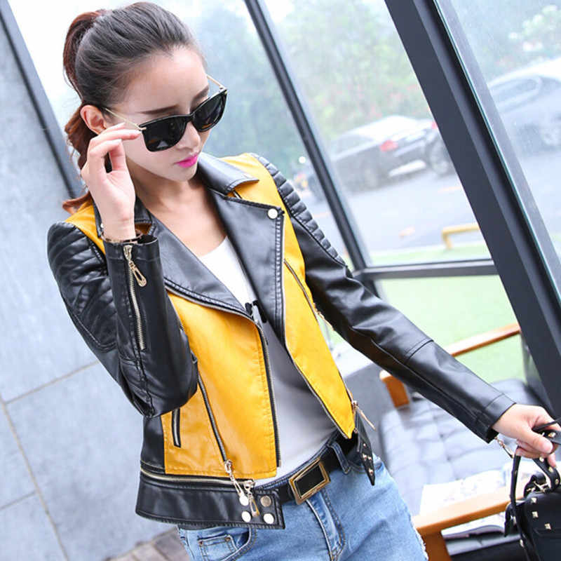 Spring Autumn PU Leather Jacket Women Motorcycle Zipper Short Coat 2019 Yellow Green Black Female Plus Size Clothing Streetwear