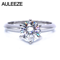 Solitaire 2 Carat Moissanite Ring Test Positive Brilliant Cut Lab Grown Diamond Solid 14K White Gold