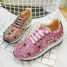 Women Pink Sequined Sneakers Lace Up Flats Casual Footwear Fashion Silver  Black Espadrilles Women Valentine Tenis 98796d567efe