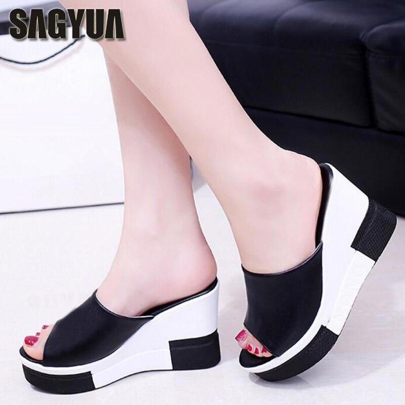 SAGYUA Graceful Girlish Summer Women Casual Babouche Platform Pumps Peep Toe Slipper Beach Wedge Heel Slippers Slides Shoes T164