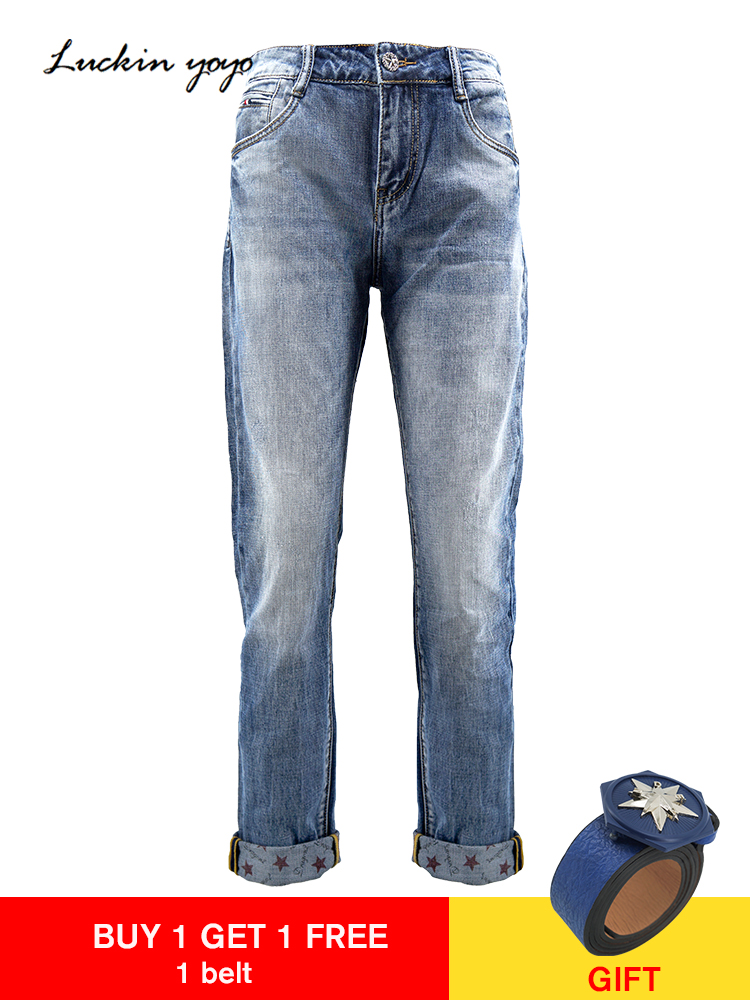 Luckin yoyo Boyfriend   Jeans   for Women Spring High Waist Push up   Jeans   Women Casual Light Blue Mom   Jean   Pant