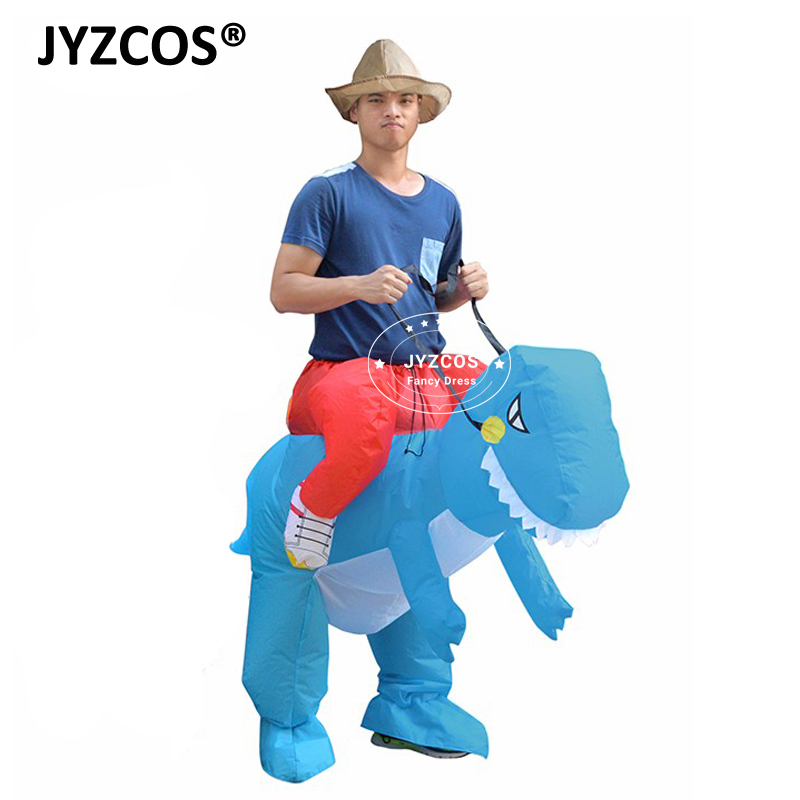 JYZCOS Man Riding inflatable T-rex Dinasour Costume Fan Operated Costumes Halloween Party Fancy Dress Animal Costume for Adults