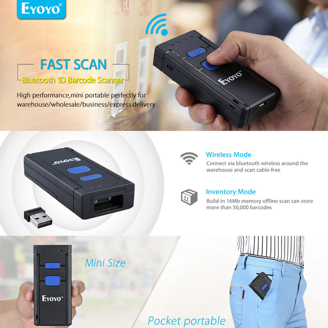 EYOYO MJ2877 Pocket Wireless Laser Bluetooth Barcode Scanner 1D for IOS Android Mobile Phone Tablets Windows PC Bar Code Reader 1