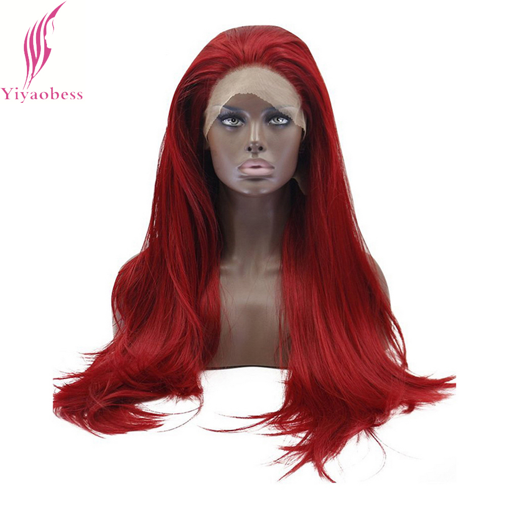 Yiyaobess 26inch Glueless Red Lace Front Wig Synthetic Long Straight Hair Wigs For Women
