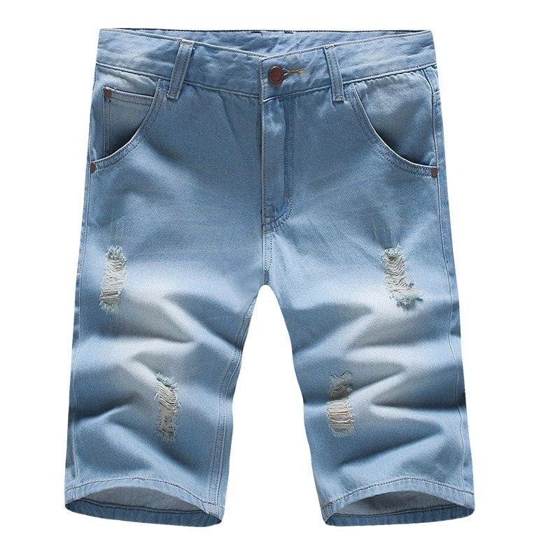 2018 Высокое качество Лето Для мужчин джинсы тонкие потертые шорты 28-38 голубой Повседневное Для мужчин джинсы ...