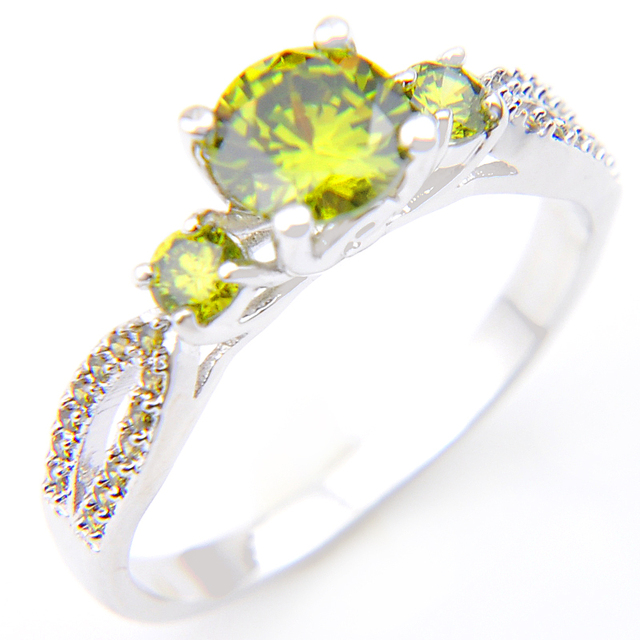Promotion Jewelry Lucky Shine Fire Drop Full Peridot Silver Plated