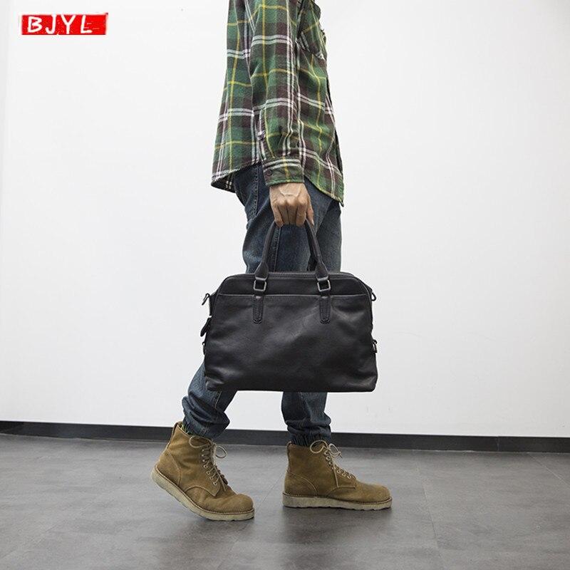 BJYL nouveau porte-documents en cuir véritable pour hommes sac à main homme d'affaires section transversale sac à bandoulière ordinateur mallette en cuir noir souple