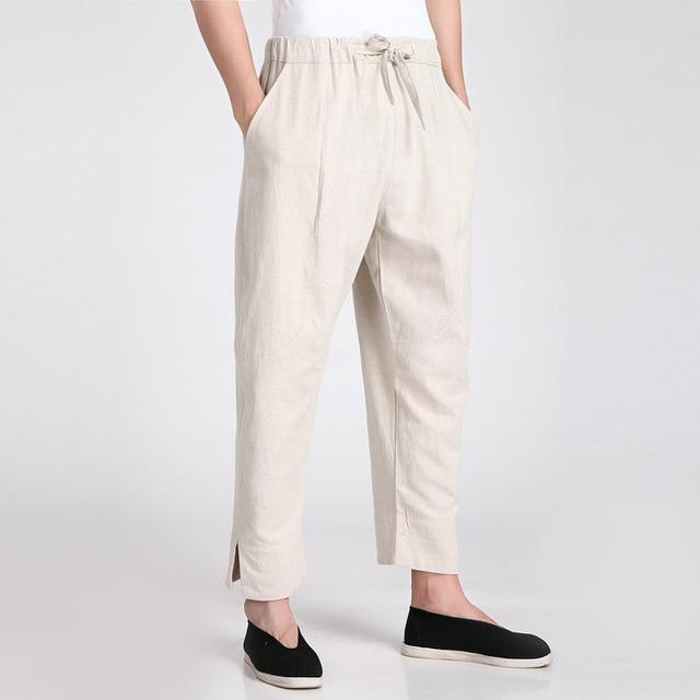 finest selection 662c1 00634 US $24.48 49% di SCONTO|Nuovo Arrivo Beige degli uomini Cinesi di Kung Fu  Pantaloni di Cotone Pantaloni di Lino Abbigliamento Taglia S M L XL XXL  XXXL ...