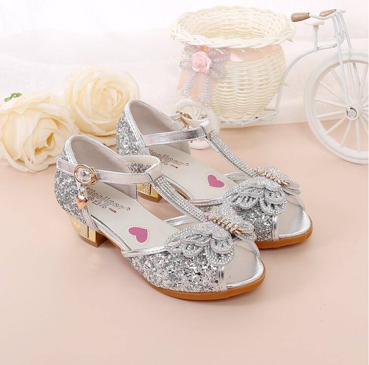 Hot Sale Kinderschoenen Crystal Bow Shiny High Heels Princess Shoes - Kinderschoenen - Foto 4
