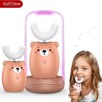 Электрическая зубная щетка для детей, 360 звуковая электрическая зубная щетка с милым мультяшным рисунком, перезаряжаемая электрическая зуб...