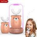 Cepillo de dientes eléctrico sónico 360 para niños cepillo de dientes eléctrico recargable de dibujos animados bonito cepillo de dientes automático de silicona para niños