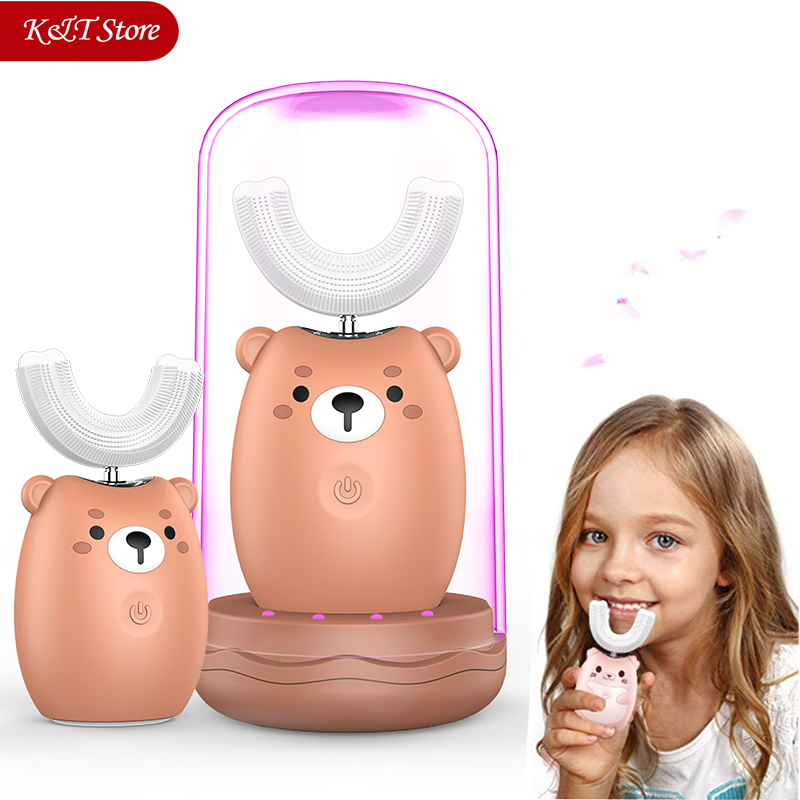 Kids 360 Sonic Electric Toothbrush Cute Cartoon Rechargeable Electric Tooth Brush Silicone Automatic Children Teeth Brush title=