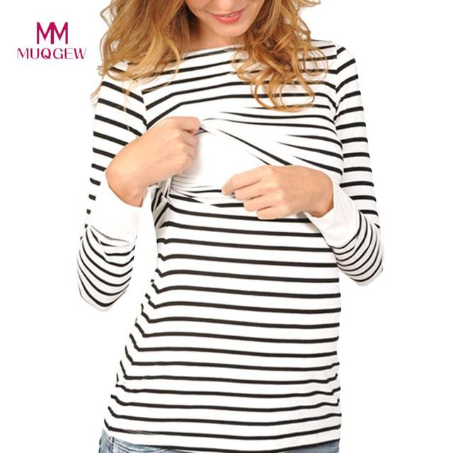 254fc2d28c8 MUQGEW Maternity Clothes Women Mom Pregnant Nursing Baby Maternity Long  Sleeved Stripe Tops Breastfeeding Clothing for