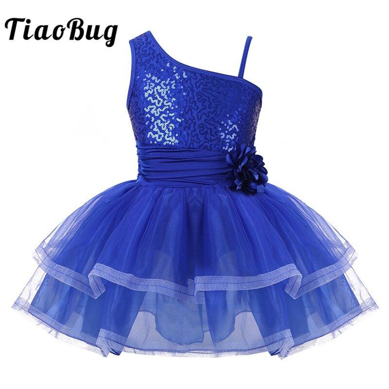 TiaoBug Girls One-Shoulder Shiny Sequins Flower Ballet Tutu Mesh Dress Stage Dance Costumes Ballet Gymnastics Leotard Dance Wear