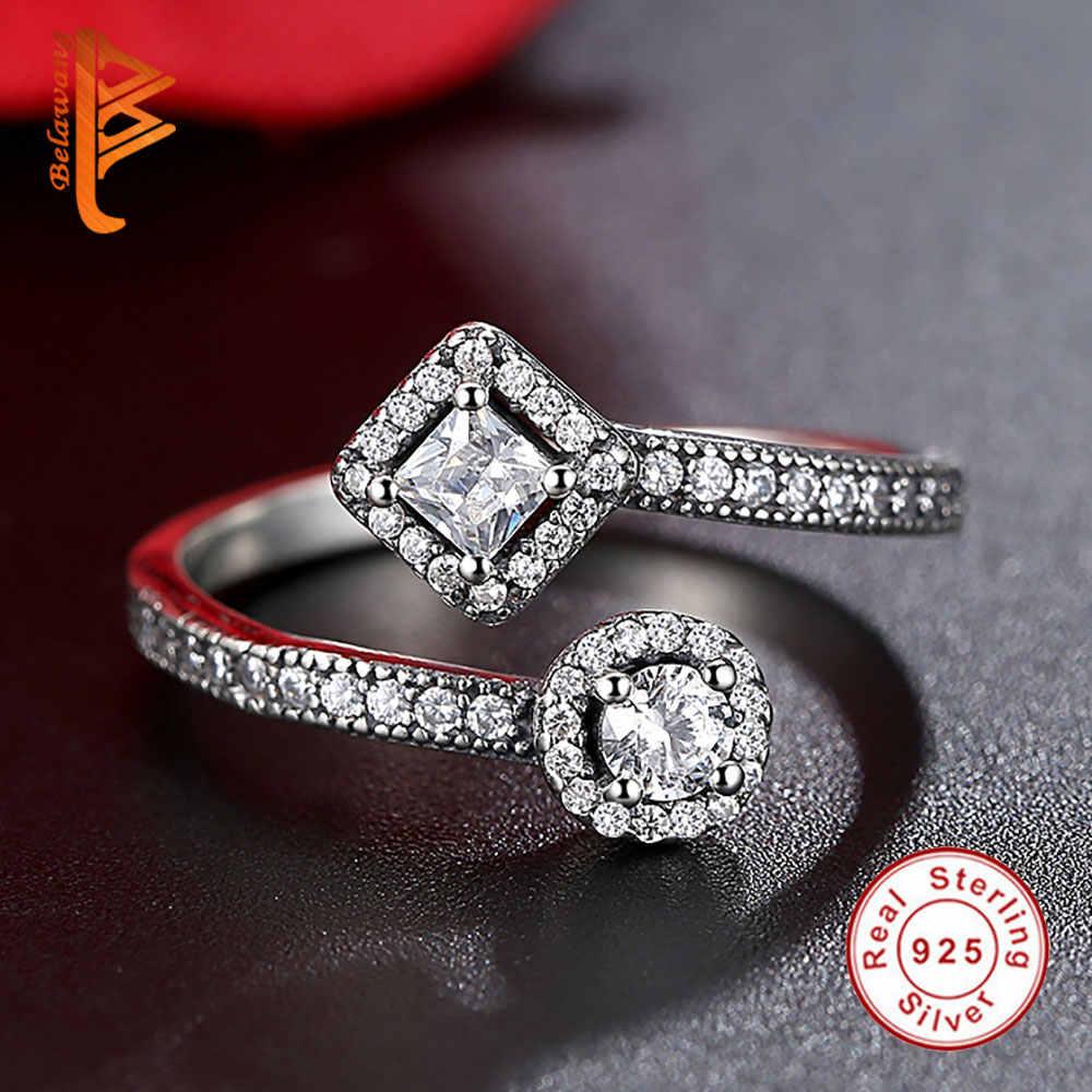 BELAWANG classique 100% 925 argent Sterling Allure Vintage, clair CZ bagues pour les femmes mode fiançailles anneau ouvert bijoux