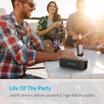 Anker Soundcore 2 Portable Bluetooth Wireless Speaker Better Bass 24-Hour Playtime 66ft Bluetooth Range IPX7 Water Resistance 6