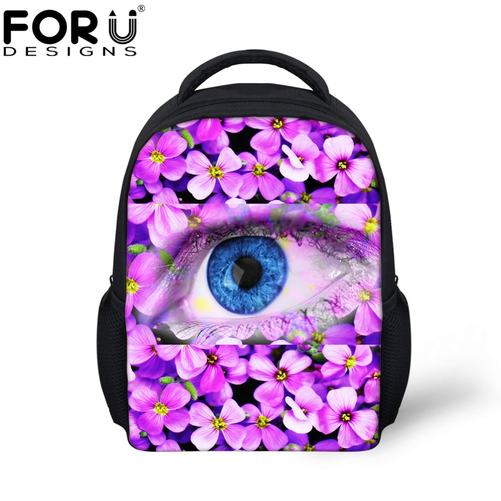 FORUDESIGNS Small School Bags for Girls 3D Eyes Kindergarten Baby Book Bags Kids Pretty Flower Design Student Mini School Bags