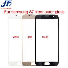 S7 أسود أبيض الذهب كحلي اللمس استبدال لوحة الشاشة لسامسونج غالاكسي s7 G930 G930F جبهة الخارجي زجاج عدسة 10 قطعة/الوحدة