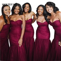 Burgundy Bridesmaid Dress Long Mermaid Strapless Sweetheart Tulle Wedding Party Gowns With Pleats Damas De Honor Vestidos