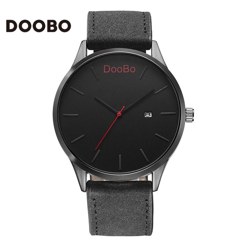Мода повседневная армия спорт лучший бренд полунавесной люкс мужские часы кожа doobo бизнес кварцевые часы мужчины наручные часы relogio словаре