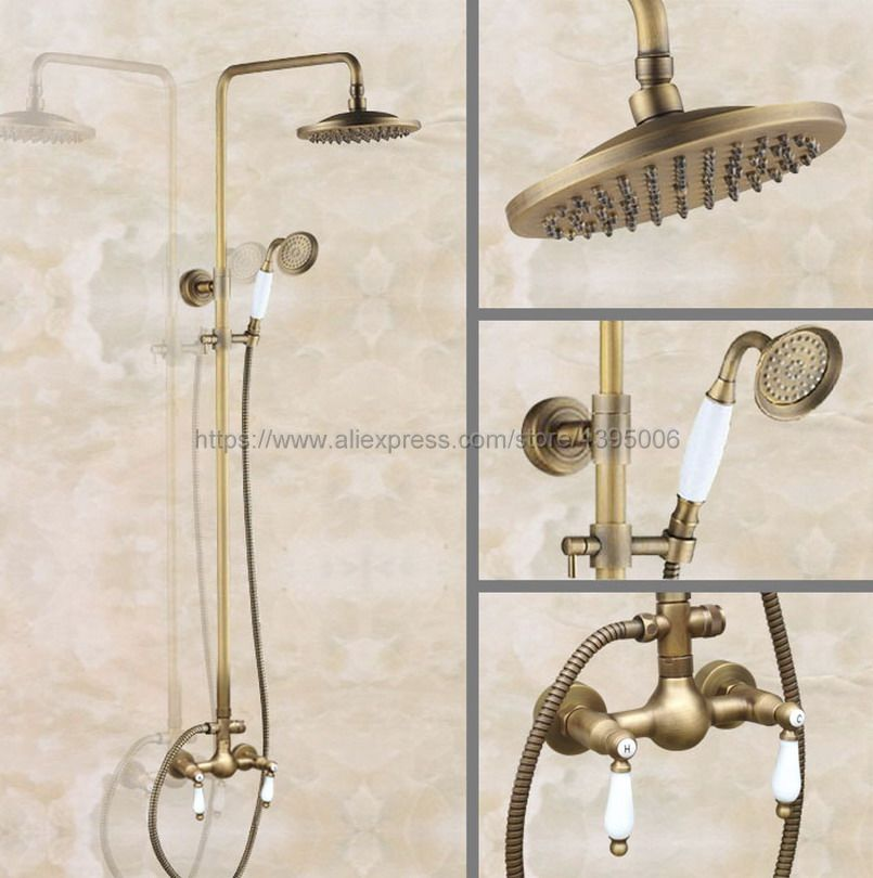 Antique Brass Shower Faucet Set 8 Inch Shower Head Hand Shower Sprayer W Hand Shower Wall Mounted Mixer Tap Ban118