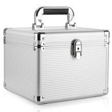 De aluminio de 10 Caja de Almacenamiento caja de Protección de Disco Duro de 3.5 pulgadas con Cierre de Plata