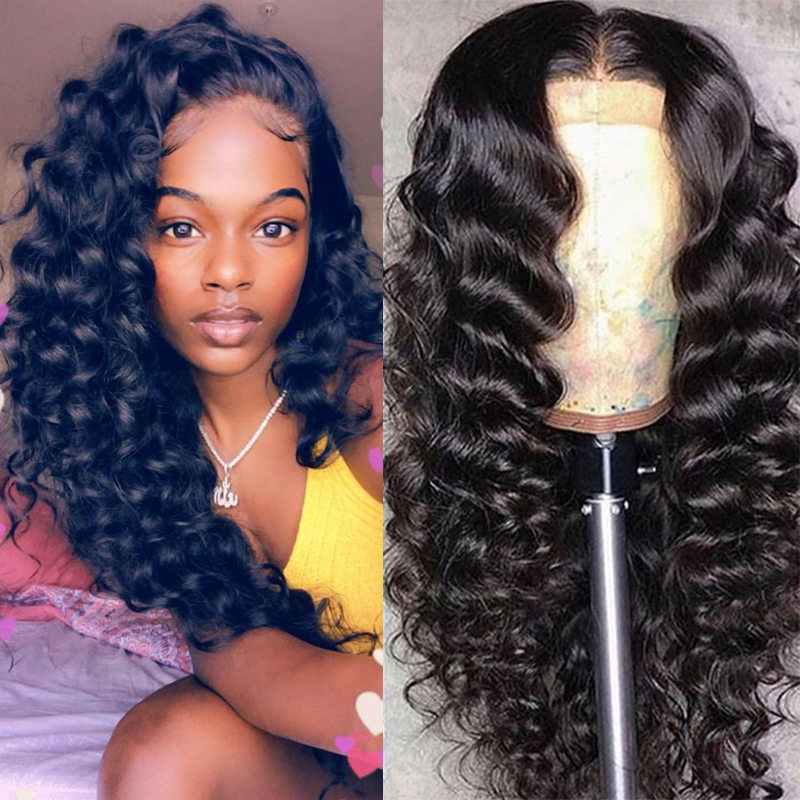 250 Glueless Full Lace Wigs Transparent Deep Loose Wave Brazilian Virgin Human Hair Wig Pre Plucked