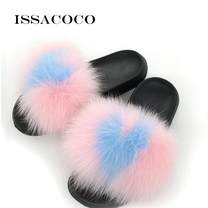 ISSACOCO Home Slippers Women Flat Fox Hair Slippers Women Fur Slippers Women Non slip Outdoor Furry Slippers Zapatillas Pantufas in Slippers from Shoes