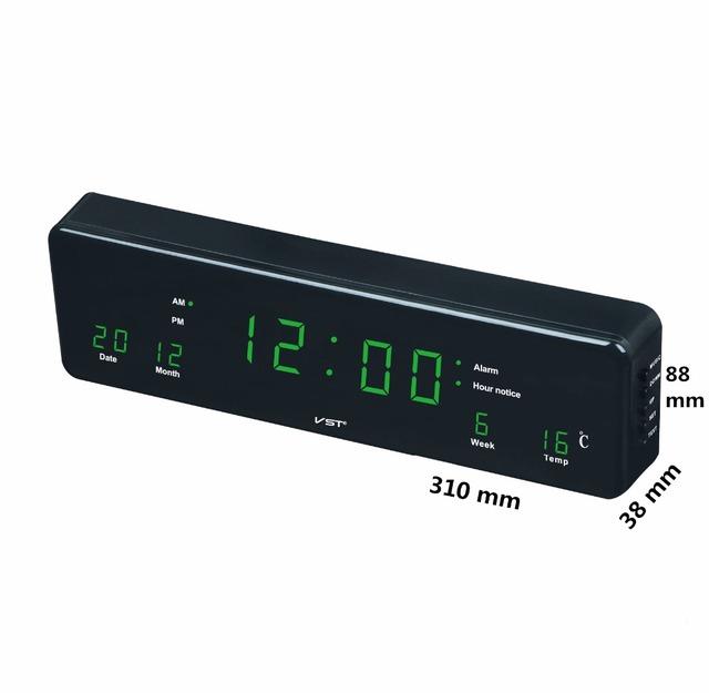 led calendar wall clock with EU plug Multi – function digital led clock with alarm Home Desktop temp clock Hanging glowing Clock